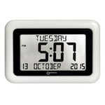 large print wall or table clock, displaying time and date